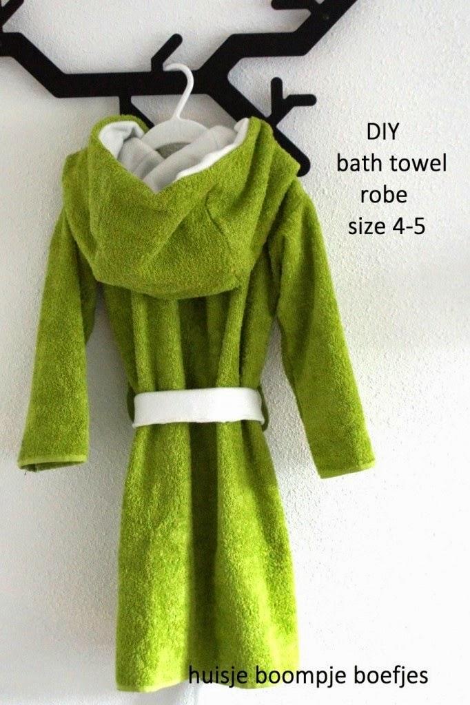 DIY bath towel robe - huisje boompje boefjes