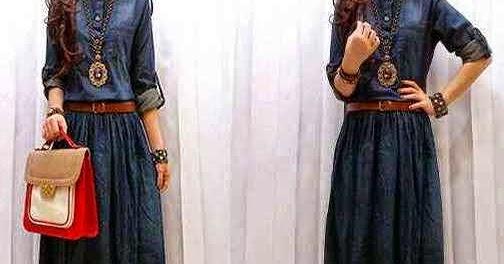 Model Gamis Jeans Jaman Sekarang Terbaru Modern Terbaru