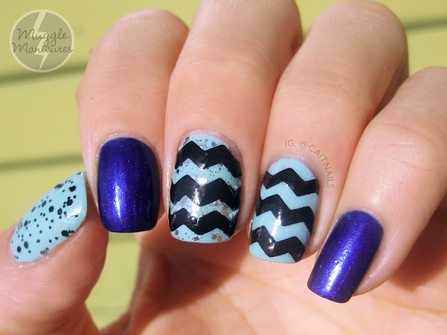 Homemade Nail Art Decals : Muggle manicures nail art homemade chevron decals
