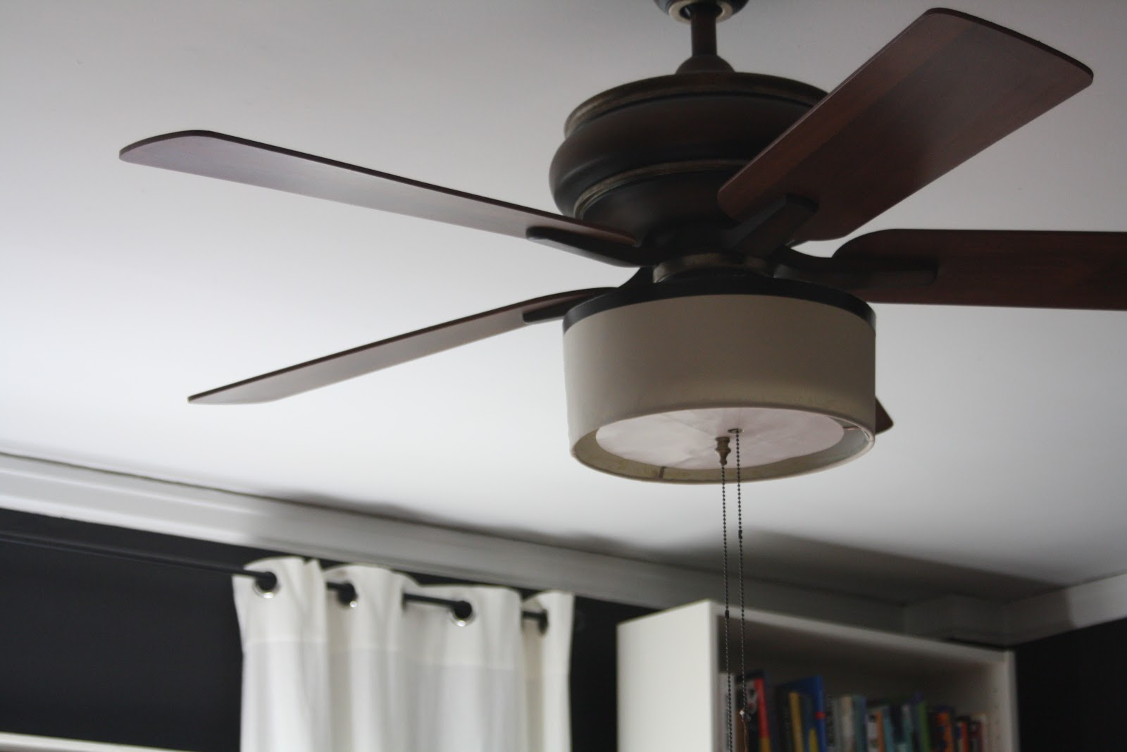 DIY drum shade attached to celing fan