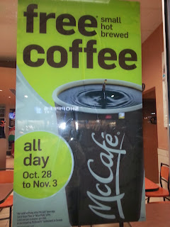 Poster McDonalds Free small hot brewed coffee