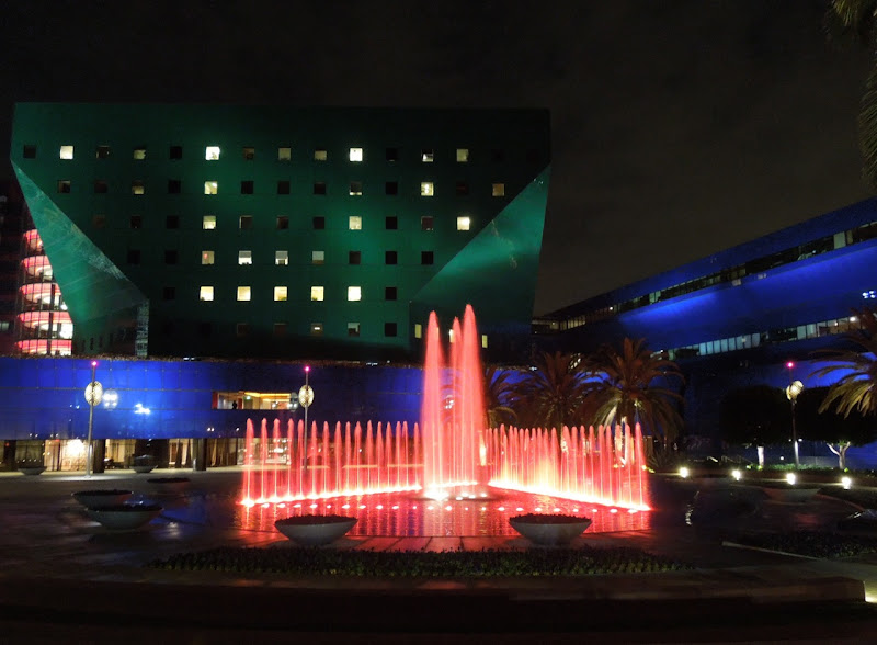 Pacific Design Center illuminated fountains