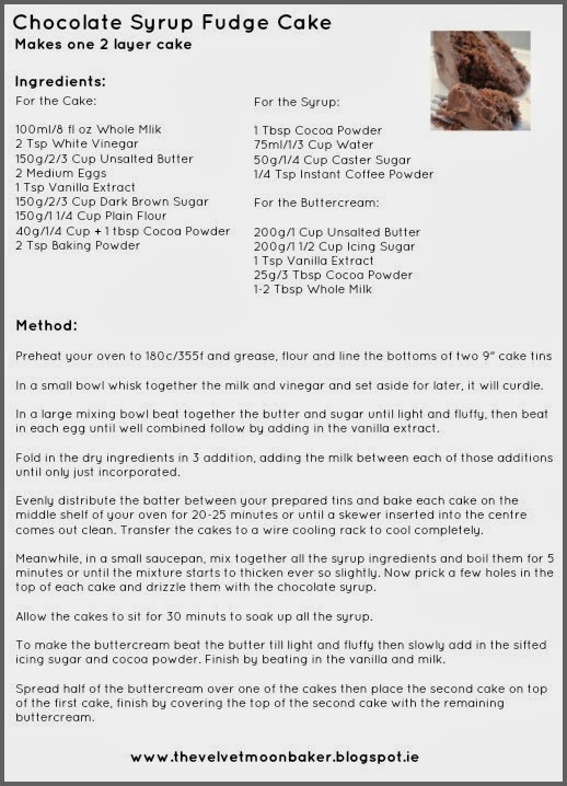 Chocolate Syrup Fudge Cake Recipe Card