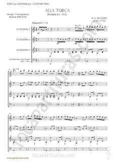 Marcha Turca Partitura de Trio de Guitarra y guitarra bajo Guitar Sheet Music for three guitars