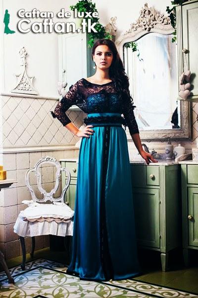 Robe de soirée bleu haute couture