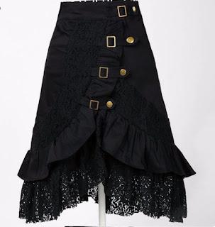 Falda Vintage hasta las rodillas, con cortes y detalles en diagonal y encaje en la parte inferior