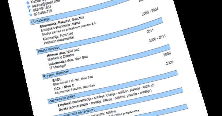 Format Curriculum Vitae (CV) Yang Benar