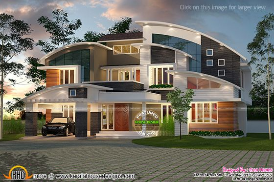 Contemporary curved roof house kerala home design and for Curved roof house plans