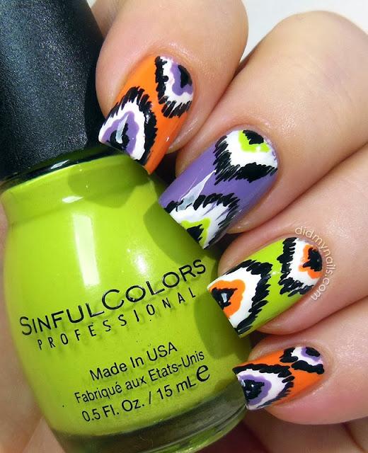 Halloween ikat manicure