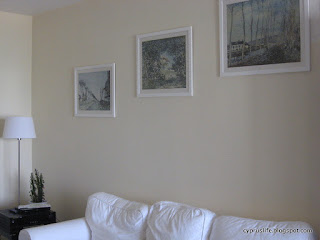water colours on the wall, in new frames in Cyprus