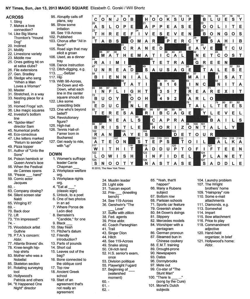 The Cure in the NY Times Crossword Puzzle