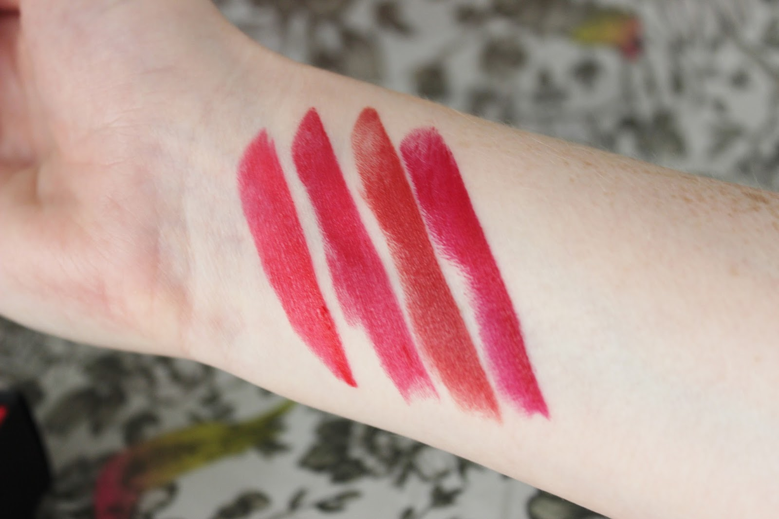 L'Oreal pure reds julianne's red, liya's red, eva's red and blake's red swatches