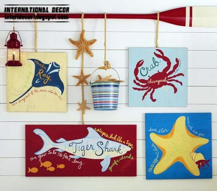 children wall painting, marine style children room decor