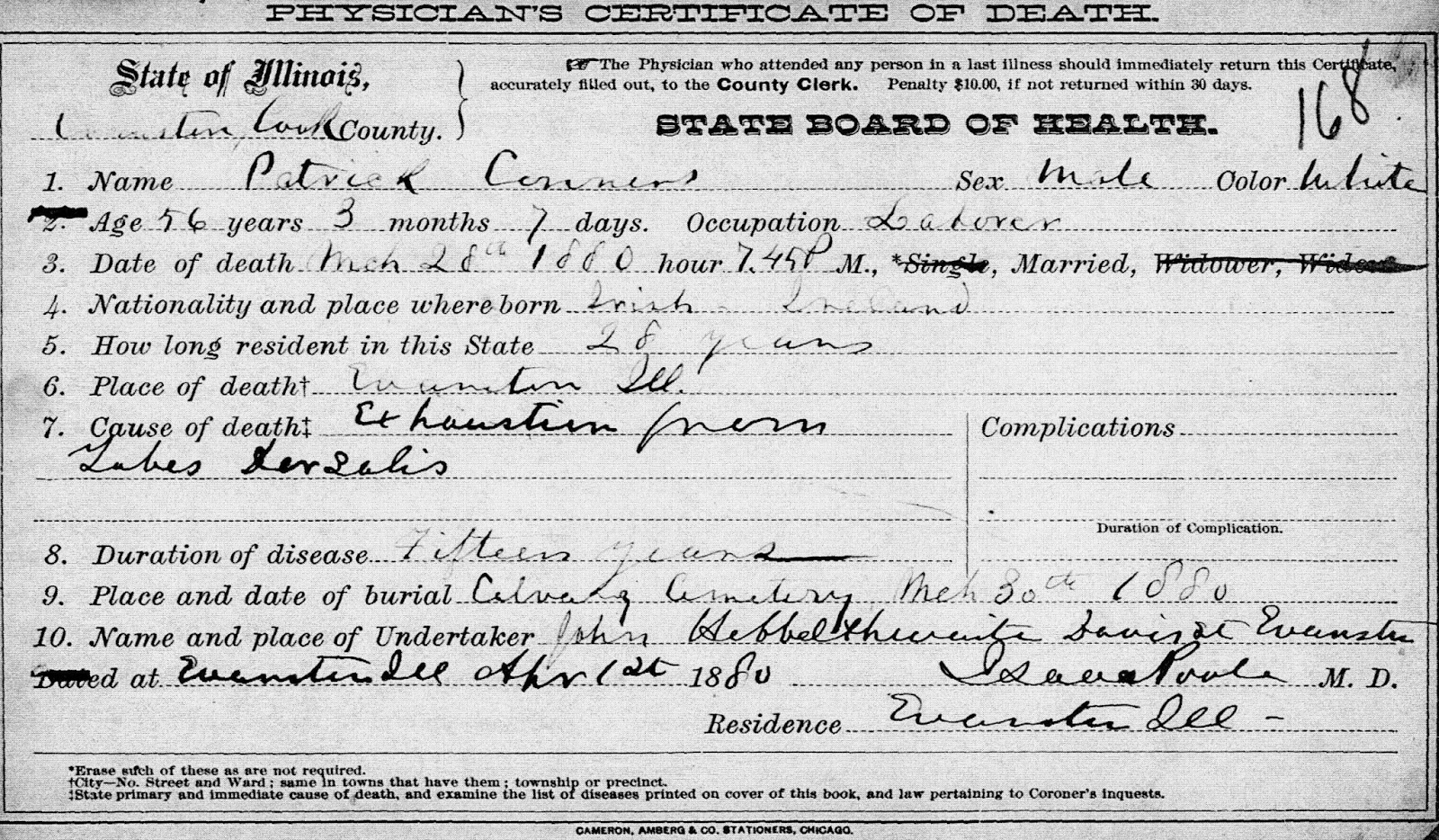 Connorcolfer genealogy the physicians certificate of death issued in evanston cook county illinois shows patricks last name spelled conners a not uncommon spelling 1betcityfo Image collections
