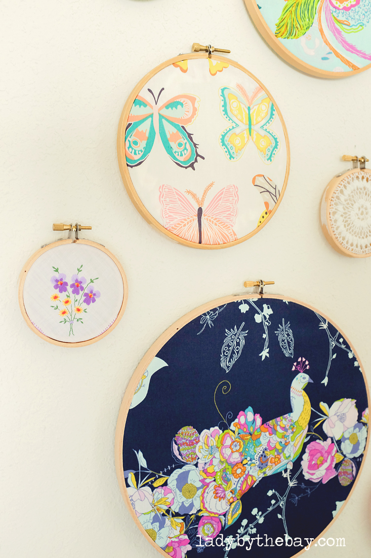 Lady by the bay diy embroidery hoop wall art