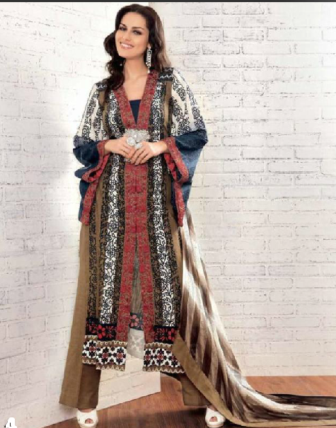 Gul Ahmed Embroided Khaudar design of 2013
