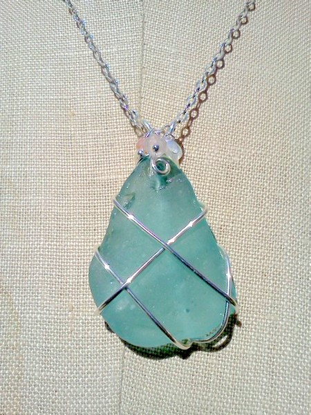 Somethingseablue sea glass jewelry beachcombing treasures wire aqua sea glass from kauai mozeypictures Image collections