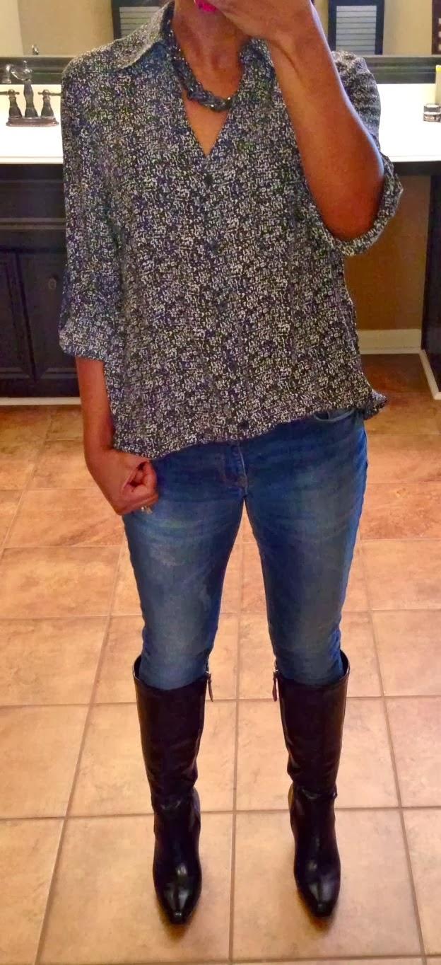 Express convertible sleeve portofino shirt, boucle print, outfit idea