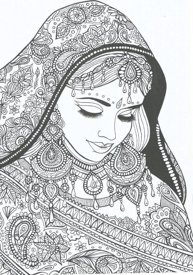 Coloring Page World Indian Bride