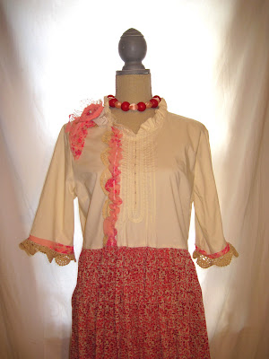 Long Dress, Country Chic Bohemian Styles and Pink Off-White Color Tones, Flower and Lace Embellished