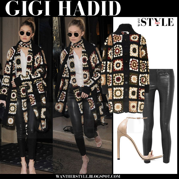 Gigi Hadid in crochet mixed media long rosetta getty cardigan and black leather pants j brand 8001 what she wore streetstyle