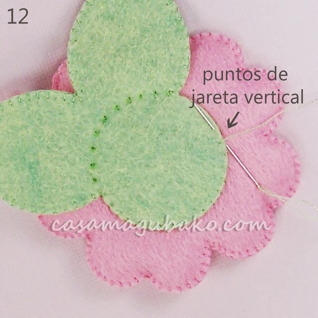 Flor en Fieltro - Coser Las Hojas by casamagubako.com