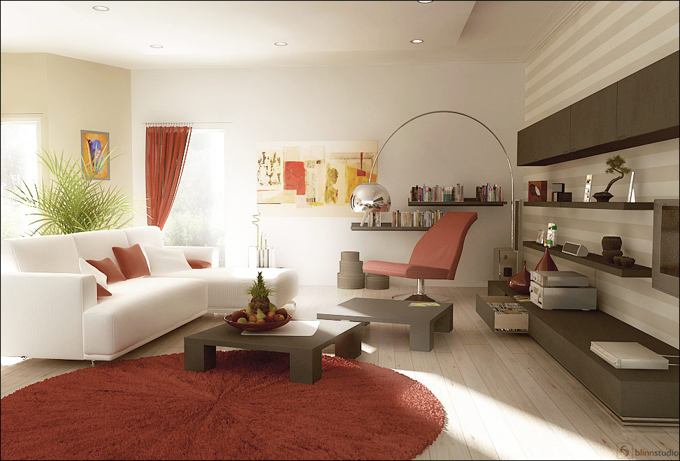 Red and White Living Room Designs5