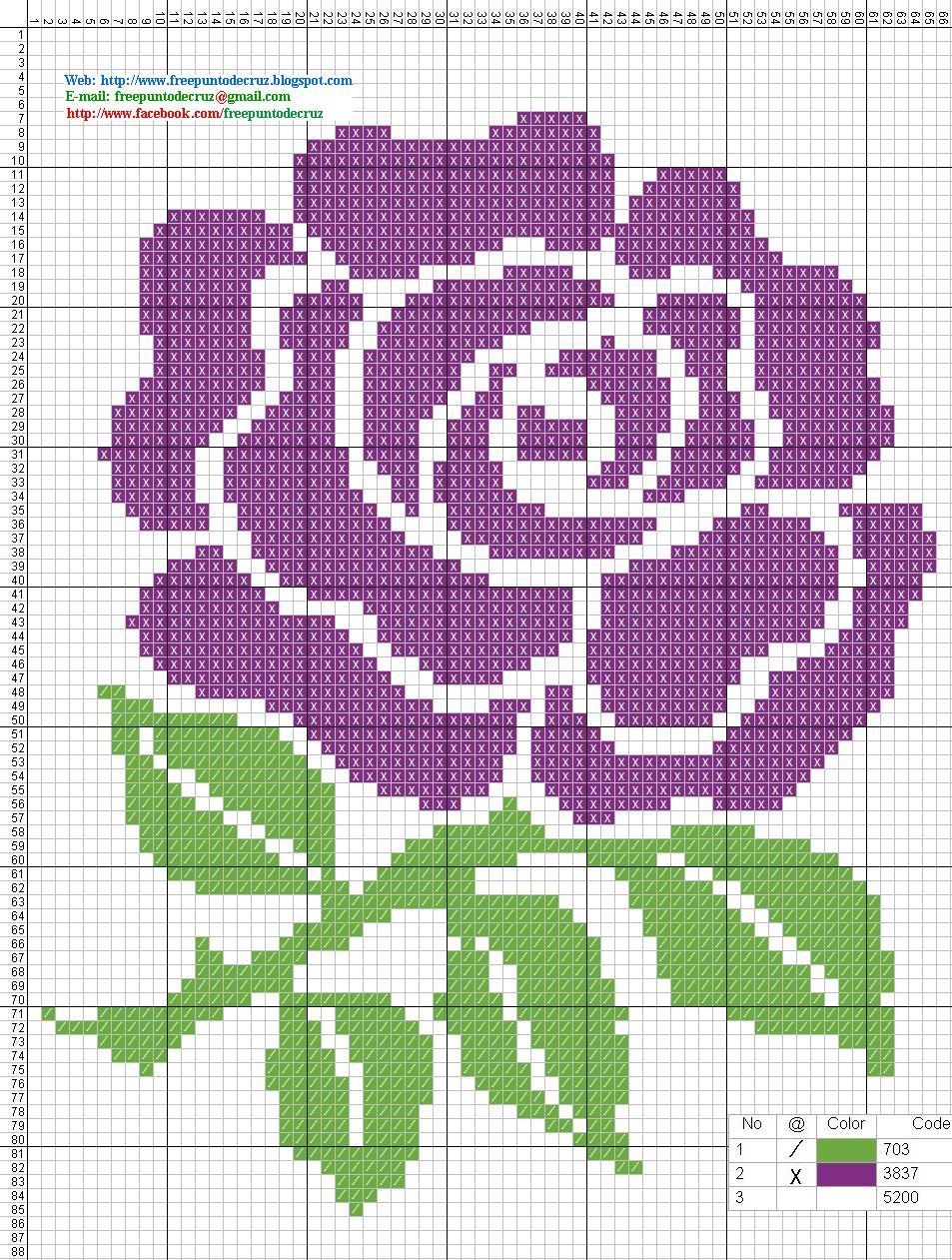 Flores De Punto De Cruz Para Imprimir