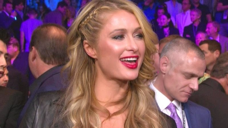 Paris Hilton at Pacquiao vs. Mayweather fight