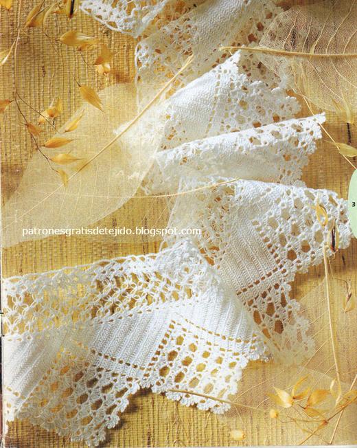 Maravillosa puntilla con explicación y patrón | Crochet y Dos agujas ...