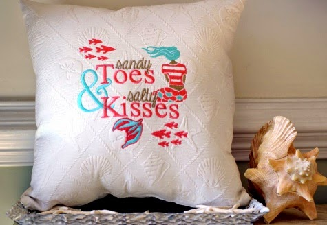Sandy Toes Salty Kisses Mermaid Pillow Handmade Embroidered
