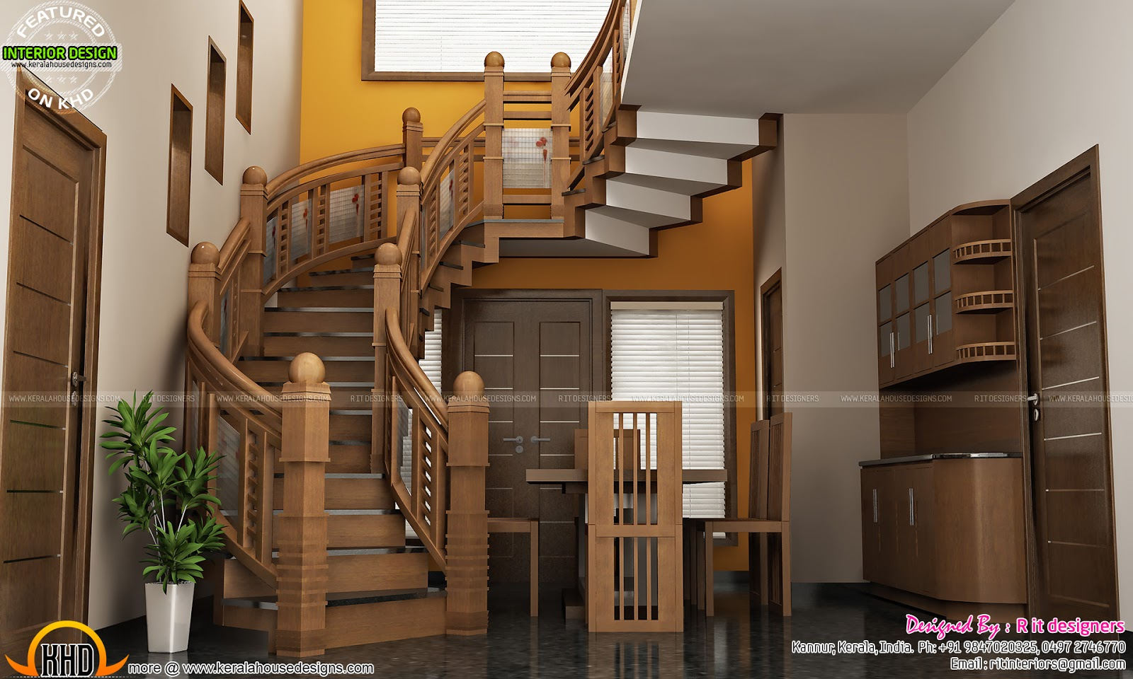 Under Stair design, wooden stair, kitchen and living - Kerala home