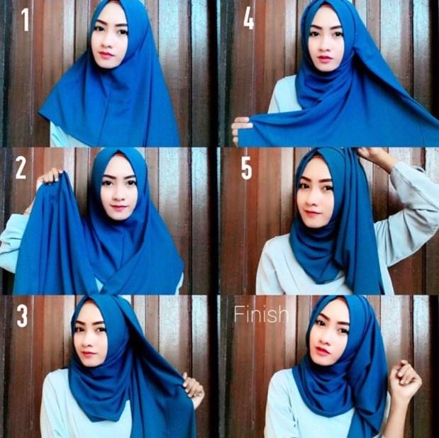 Contoh Tutorial Hijab Pashmina Kashmir Modern Cantik