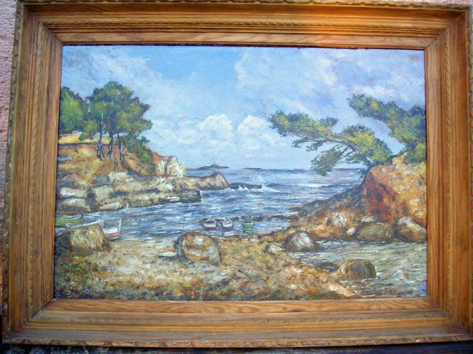 ancien tableau marine bord de mer calanques sign. Black Bedroom Furniture Sets. Home Design Ideas