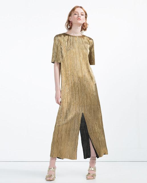 zara gold dress, gold pleated dress,