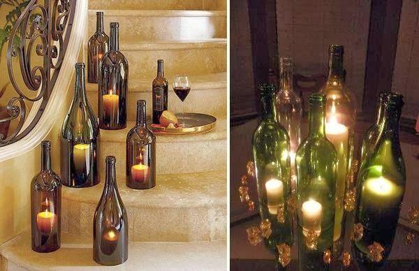 Bottiglie di vetro portacandele la casa delle idee - Portacandele in vetro ...