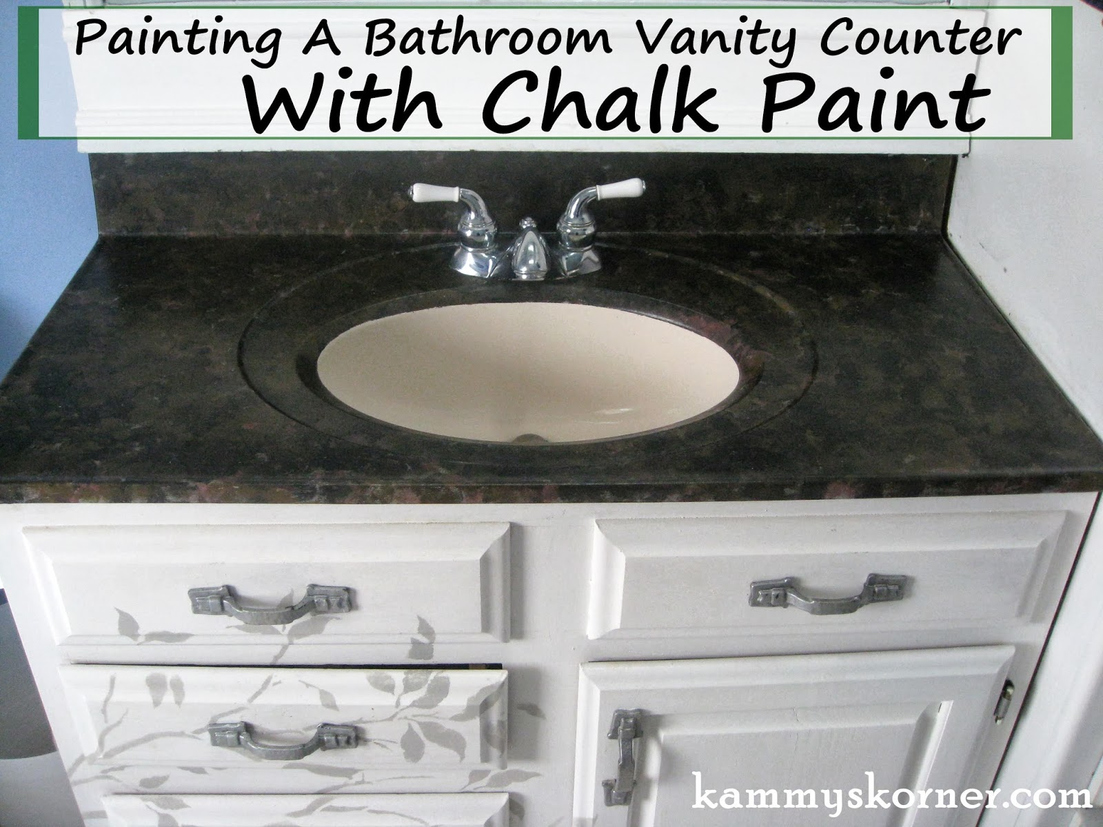 Someday Crafts Painting A Bathroom Vanity Counter With Chalk Paint - Painting bathroom vanity laminate