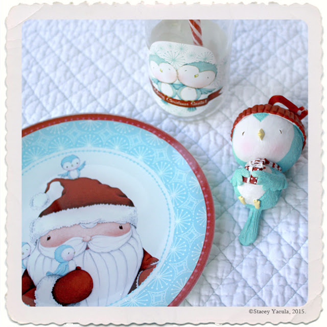 enesco, stacey yacula, plates, santa, ornament, cookies with santa, blue bird