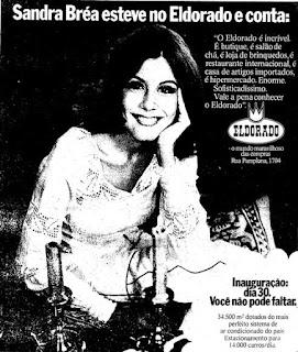 propoganda supermercado Eldorado com Sandra Bréa - 1974. anos 70.  1974. década de 70. os anos 70; propaganda na década de 70; Brazil in the 70s, história anos 70; Oswaldo Hernandez;