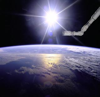 Globo terraqueo desde nave en orbita