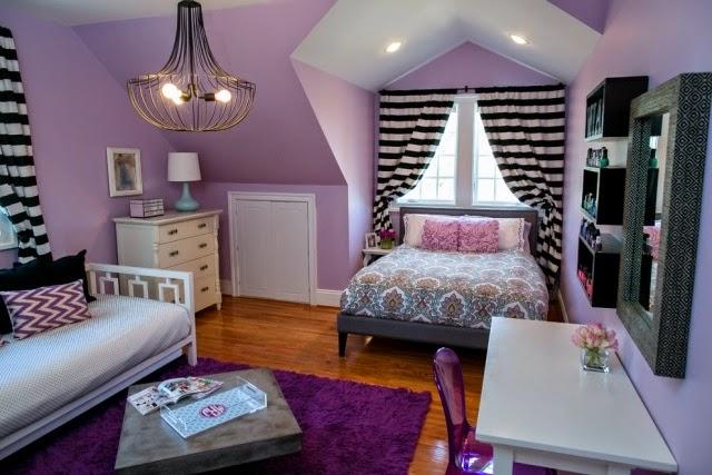 Cuarto juvenil en gris y lila dormitorios colores y estilos - Color habitacion juvenil ...