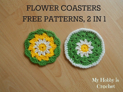 flower, daisy coaster/potholder- free crochet pattern