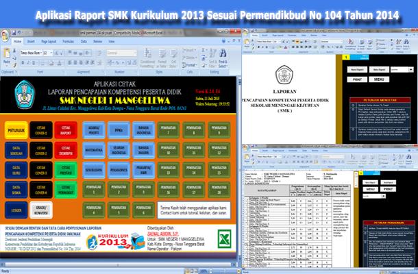 Aplikasi Raport SMA Kurikulum 2013 dengan Microsoft Excel Sesuai Permendikbud No 104 Tahun 2014