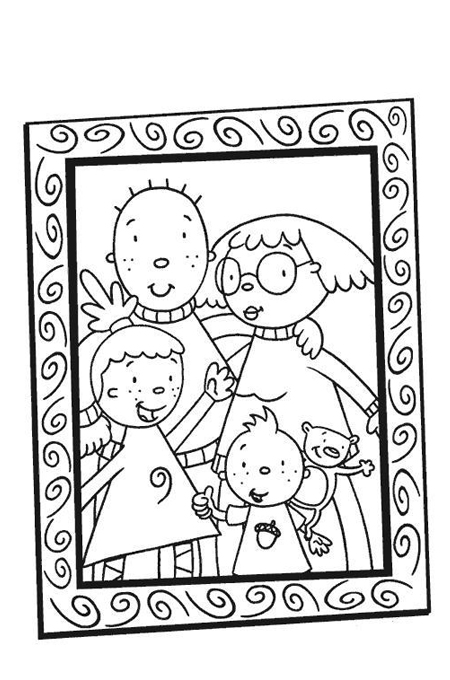 صورة العائلة لتلوين الاطفال