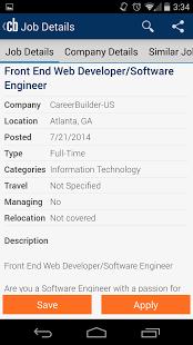 tampilan app CareerBuilder
