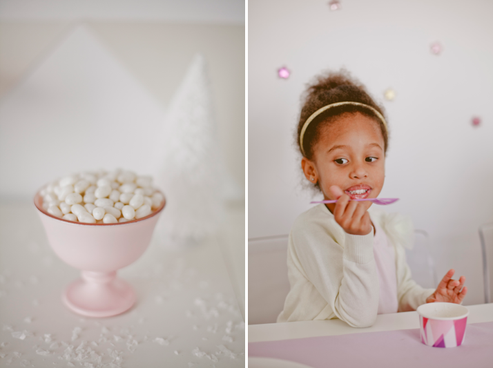 Winter Wonderland birthday party with custom ice cream cups by Shauna Younge | Sweet Tooth (pic: Angela Rose Photography)