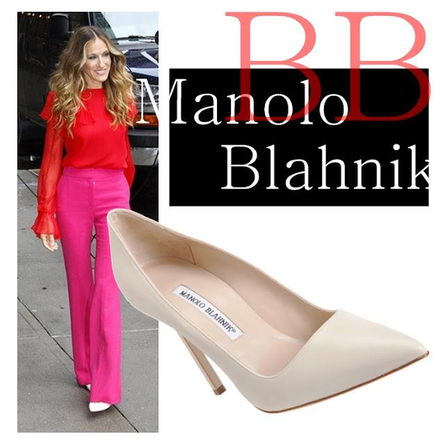 Sarah Jessica Parker wearing Manolo Blahnik BB Ivorybone