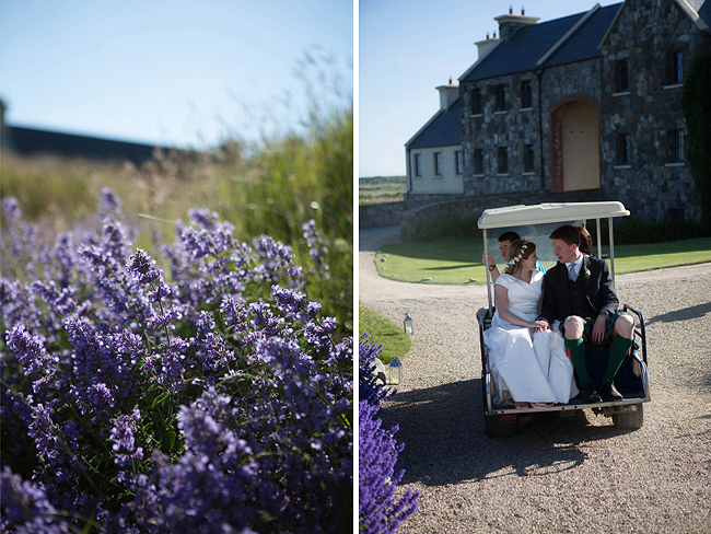 Wedding Photography Doonbeg Ireland, bride and groom on golf cart