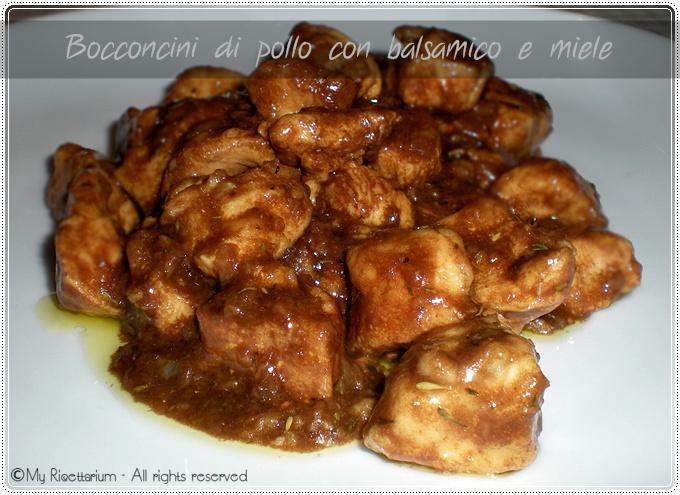Bocconcini di pollo con aceto balsamico e miele