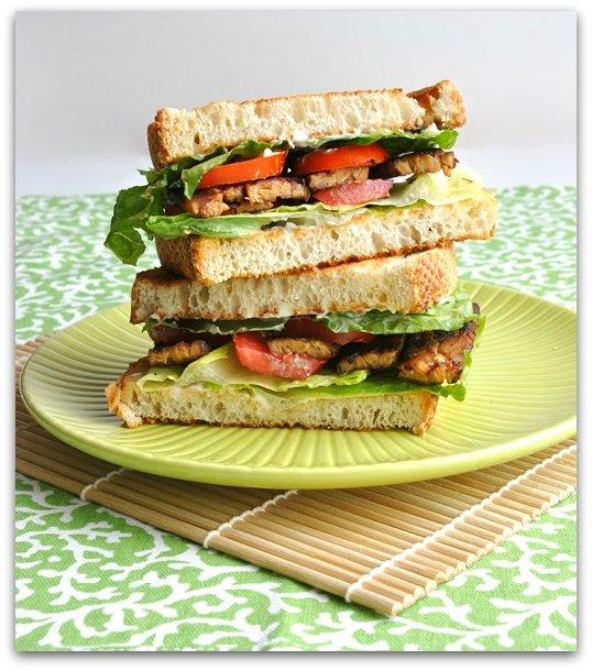 vegan tempeh bacon lettuce tomato sandwich blt